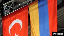 Armenia -- Turkish and Armenian flags fly alongside each other during an international sporting event in Yerevan, undated.