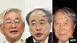 Триумф японской теоретической физики: слева направо Тосихидэ Маскава, Макото Кобаяси, Йоичиру Намбу