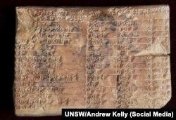 Байыркы Вавилондо мындан 3700 жыл мурда чопо тактачага шынаа сымал жазмада түшүрүлгөн тригонометриялык жадыбал. 24.8.17.