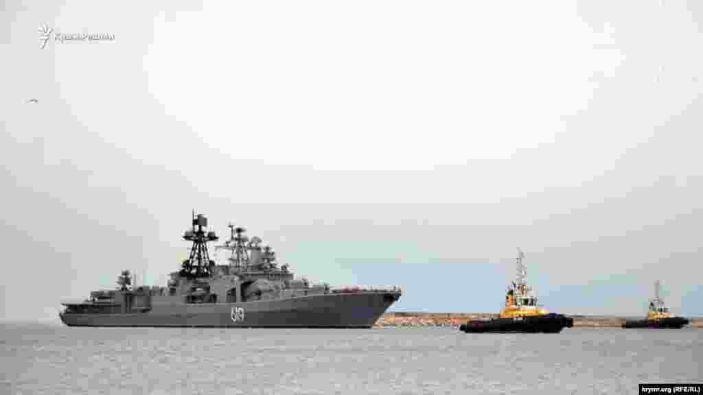 По сообщениям российских СМИ, боевой корабль Северного флота России, ракетный противолодочный эсминец «Североморск» прибыл в Севастопольдля прохождения ремонта