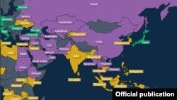 Freedom House təşkilatının İnternet Azadlığı xəritəsi
