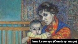 """Инна Лесовая. """"Автопортрет с сыном""""."""