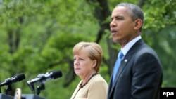 باراک اوباما و آنگلا مرکل در کاخ سفید- ۱۲ اردیبهشتماه ۱۳۹۳