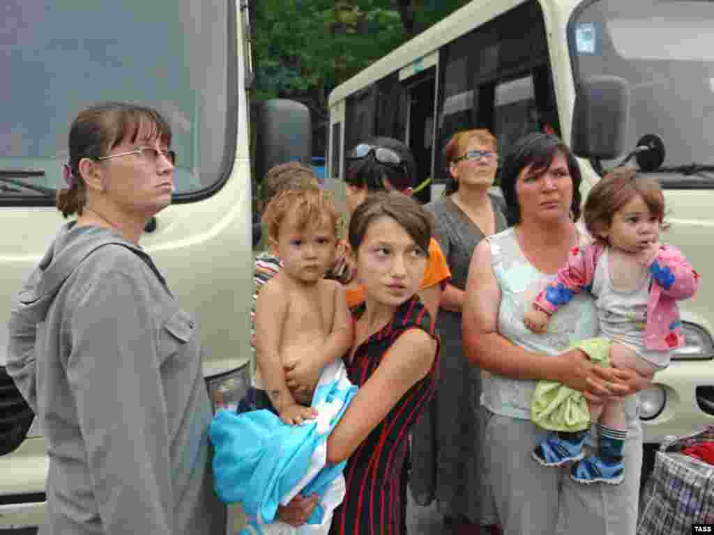 "Refugees from South Ossetia flee to the Russian republic of North Ossetia. Most of South Ossetia's residents have Russian citizenship. Russian Foreign Minister Sergei Lavrov has accused Georgia of ""ethnic cleansing"" in the pro-Moscow region."