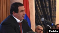 Armenia - Prosperous Armenia Party leader Gagik Tsarukian addresses an opposition conference near Abovian, 5Feb2015.