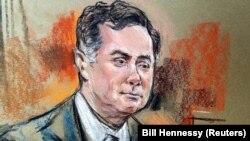 Paul Manafort într-o schiță de la tribunal, Alexandria, Virginia, 6 august 2018