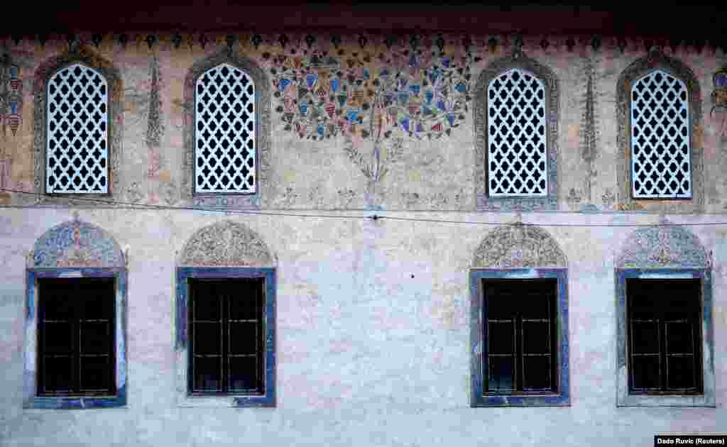 Decorations adorn the walls of Sulejmanija Mosque in Travnik. The mosque dates to 1757.