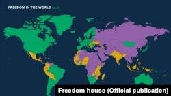 نقشه همراه گزارش «خانه آزادی». کشورهای بنفش کشورهای کاملاً غیر آزاد هستند