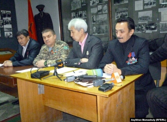 Kazakh Afghan war veterans at a press conference in 2011.