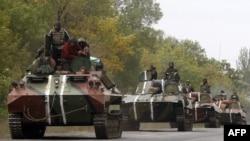 Pamje e ushtarëve të Ukrainës në afërsi të rajonit Donjeck