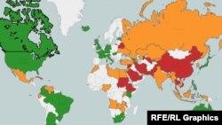 Freedom House ұйымының әлемдегі 2014 жылғы интернет еркіндігін карта арқылы сипаттауы. Көк - интернеті еркін, сары - жартылай еркін, қызыл - еркін емес елдер.