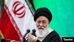 Iran-- One of Iran's most hardliner ayatollah's, Seyyed Ahmad Alamolhoda delivering Friday Prayers sermon. May 17, 2019
