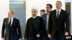 Ресей, Иран және Әзербайжан президенттері (солдан оңға қарай) Владимир Путин, Хассан Роухани және Ильхам Әлиев. Баку, 8 тамыз 2016 жыл.