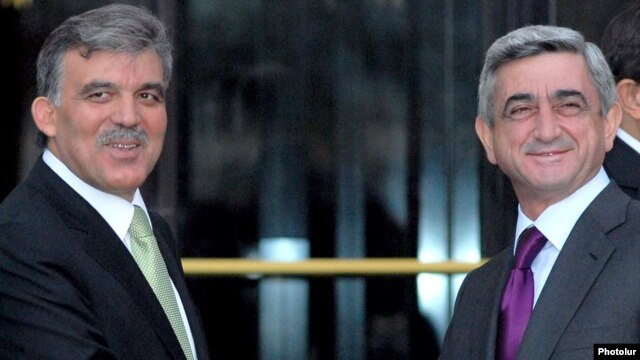 "Armenian President Serzh Sarkisian (right, with Turkish President Abdullah Gul in Bursa last year) said suspension was in Armenia's ""best interests."""