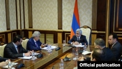 Armenia - President Serzh Sarkisian meets the members of a commission on constitutional reform, 24 Jun2014.