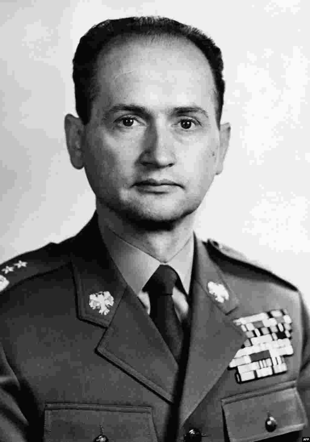 A portrait of military man Jaruzelski from 1968, the year that liberalizations in neighboring Czechoslovakia known as Prague Spring were crushed by a Warsaw Pact invasion.