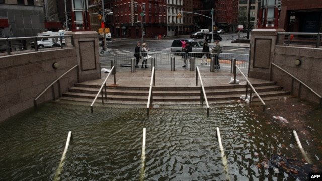 Water floods shops in Manhattan, in New York City, on October 30 in the wake of Sandy.