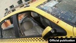 خودروی حامل علی مطهری که مهاجمان در شیراز به آن حمله کردند.