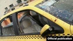 خودروی حامل علی مطهری که در شیراز به آن حمله شد.