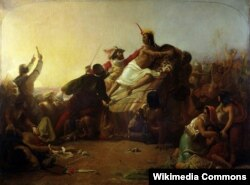 Джон Эверетт Милле. Писарро пленяет инку в Перу. 1825
