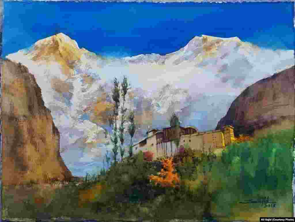 """Sajid says he uses a """"variety of cool and warm colors in my palette"""" to paint nature in watercolor."""