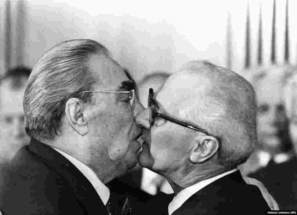 The Brezhnev kiss involved three kisses, usually on alternating cheeks; but the closer the ties between Soviet states, the closer wrinkled lips slid. This famous greeting between Brezhnev and East German leader Erich Honecker in 1979 was later immortalized in a mural titled God Help Me Survive This Deadly Love.
