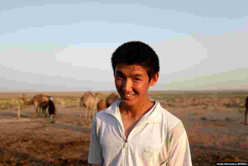 This young man did not want to give his name. His parents said he was one of the few young people who had not gone to Kazakhstan -- staying instead to help on the farm.