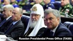 Московский патриарх Кирилл на заседании коллегии Министерства обороны России. Москва, 18 декабря 2018 года