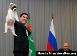 Berdymukhammedov holds up a Turkmen shepherd dog before presenting it to Russian President Vladimir Putin in Sochi in October 2017.