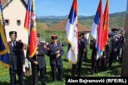 Участники церемонии открытия памятника под Вишеградом