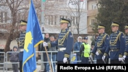 Kosovo security forces get ready for a parade marking the fifth anniversary of the country's independence on February 17.