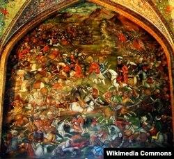 Çaldıran döyüşü. İranın İsfahan şəhərindəki Çehel Sütun sarayından rəsm.