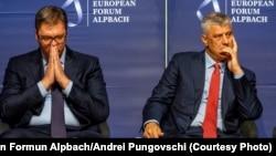 Presidenti i Kosovës, Hashim Thaçi(djathtas) dhe ai i Serbisë, Aleksandar Vuçiq - Foto nga arkivi.
