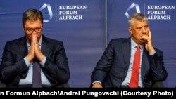 Presidenti i Serbisë, Aleksandar Vuçiq dhe ai i Kosovës, Hashim Thaçi.