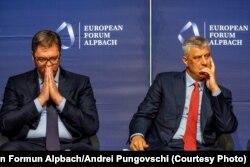 Predsednici Srbije i Kosova, Aleksandar Vučić i Hašim Tači, tokom foruma u Alpbahu