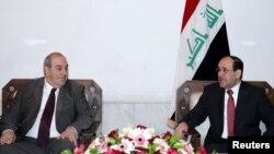 لقاء يجمع رئيس الوزراء نوري المالكي ورئيس ائتلاف العراقية اياد علاوي في بغداد 14 شباط 2011