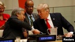 Баш катчы Антонио Гутерреш жана президент Дональд Трамп БУУ реформасы боюнча жыйында. Нью-Йорк, 18-сентябрь, 2017-жыл