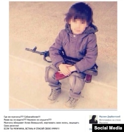 Daghestani militant Muslim Derbentsky's social media post calling on people to join Islamic State uses a picture of a toddler with a gun