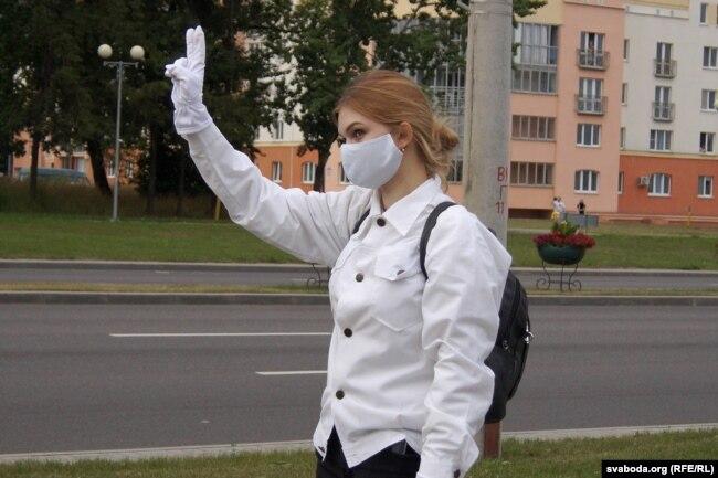 Ein Teilnehmer des Protestes der Mediziner