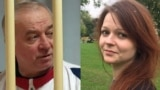 A combo photo of Sergei Skripal (left) and his daughter, Yulia