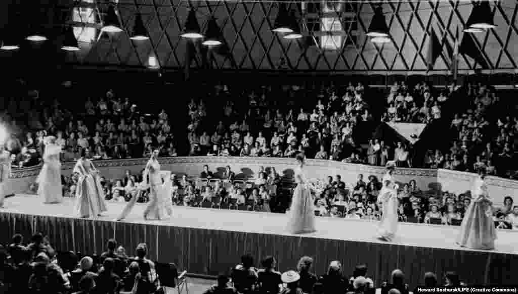 The main purpose of the trip was a series of fashion shows (pictured) as the U.S.S.R. was beginning to open to the world following the death of Josef Stalin.