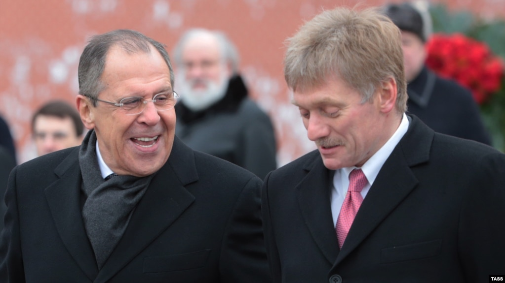 Russian Foreign Minister Sergei Lavrov (left) and Kremlin spokesman Dmitry Peskov (right) have rejected allegations that Moscow was behind a plot to assassinate a Montenegrin prime minister.