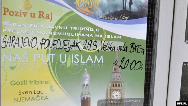 "A poster in Sarajevo calls for debate on ""non-Muslims converting to Islam."""