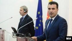 Премиерот Зоран Заев со еврокомесарот за проширување Јоханес Хан