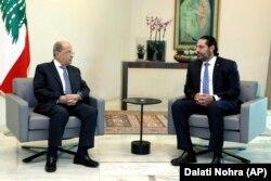 سعد حریری، نخستوزیر مستعفی (راست) و میشل عون، رئیسجمهوری لبنان