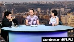 Карине Даниелян (слева) и Галуст Нанян в студии «Азатутюн ТВ», 18 августа 2017 г․