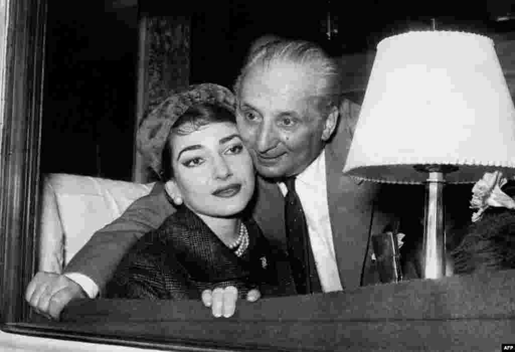 Мария Каллас и ее муж Джованни Батиста Менегини, 1958 год.