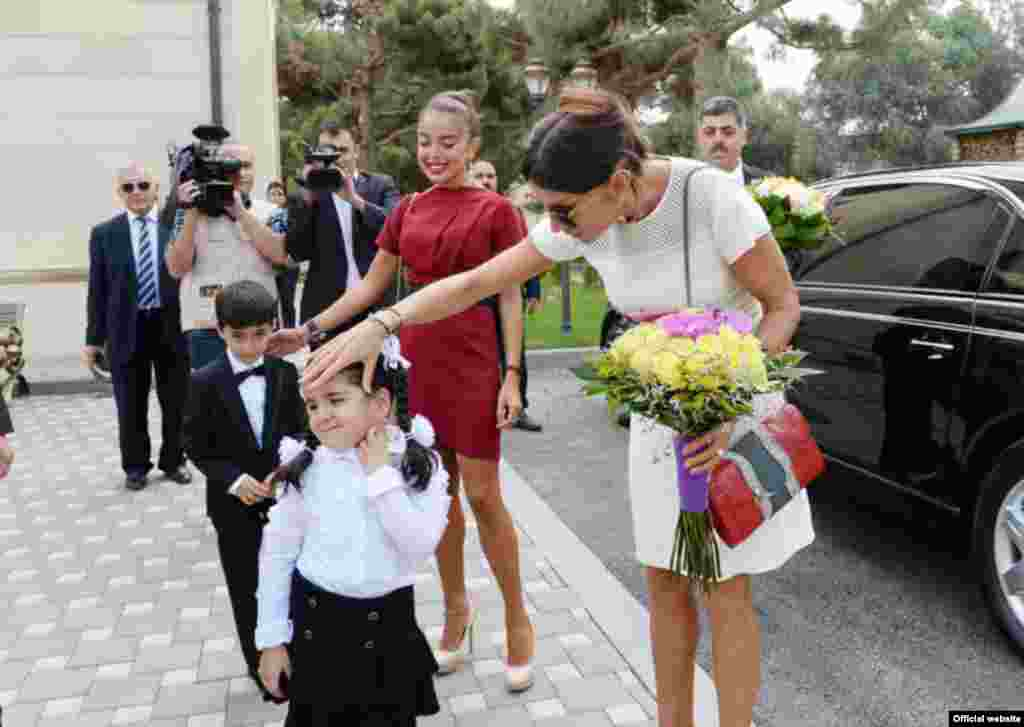 The Azerbaijani first lady opened at least eight kindergartens over a single two-day stretch as part of the run-up to elections.