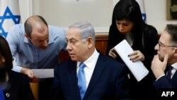 Israeli Prime Minister Benjamin Netanyahu in a cabinet meeting. FILE PHOTO