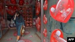 مغازه ای در پاکستان در روز ولنتاین